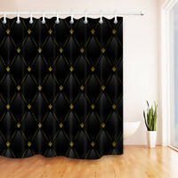 100% Polyester Fabric Black Leather Gold Pattern Shower Curtain Bathroom Hooks