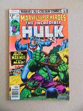 Marvel Super Heroes 72 . Hulk - Marvel 1978 - FN