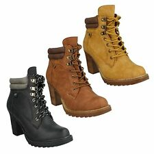 F5R0322 LADIES SPOT ON LACE UP ROUND TOE HIGH HEEL BLACK BROWN  ANKLE BOOTS