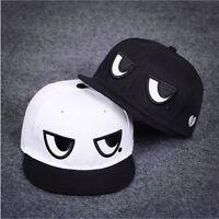 New Men's Women's Adjustable Baseball Cap Black White Eyes Snapback Hip-hop Hat
