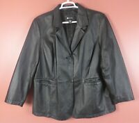 LTR0715- MAGGIE BARNES Women's SOFT Genuine Leather Jacket Pocket Black Plus 2X