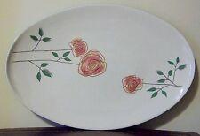 "Iroquois Rosemary Ben Seibel 15"" Oval Serving Platter Vintage Modern Roses USA"