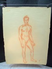 Nude Young Man Looking Straight Out Original Red Pencil by C. Schattauer Kelm