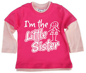 """Dirty Fingers Baby Girl Layered Skater Top """"I'm the Little Sister"""" Newborn Gift"""