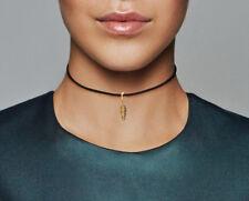 PANDORA Black Leather Choker Necklace & Feather Pendant 14K Gold Vermeil 397197
