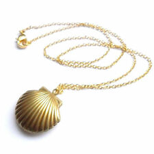 Sea Shell Design Opened Pendant Locket Chain Necklace Mermaid Fashion Jewelry