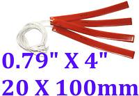 """0.79"""" X 4"""" 20 X 100mm 12V 5W w/ 3M JSRGO CE UL Silicone Rubber Heaters 4 PCs"""