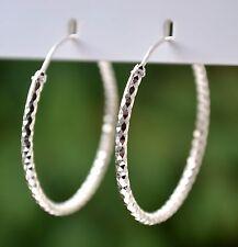 Sterling Silver 925 Diamond Cut 3 Side Diamond Pattern 35mm Hoop Earrings