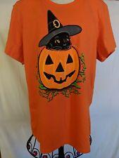 Black Witch Kitten Cat Shirt Kitty Orange Halloween Sz XL 16-18