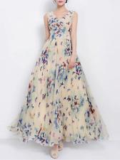 V-Neck Butterfly Printed Chiffon Maxi Dress
