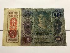 1914 Austria 50 Kronen Fine #5345