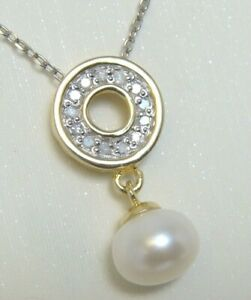 0.12 Ct Natural Diamond Circle Pearl Chain Charm Pendant 14k Yellow Gold Over
