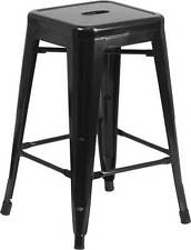 24'' Backless Black Metal Counter Height Stool