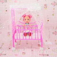 Plastic Baby Bed Miniature Dollhouse Toy Bedroom Furniture For Dolls ❤
