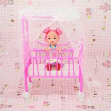 Plastic Baby Bed Miniature Dollhouse Toy Bedroom Furniture For Barbie Dolls