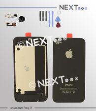 BACK COVER SCOCCA POSTERIORE IPHONE 4 NERO + PULSANTE HOME + kit riparazione
