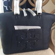 Tory Burch Bombe T Medium Slouchy Shoulder Bag Navy Leather