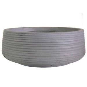 IDEALIST Planter with Drainage Hole Contemporary Light Concrete Ribbed Bowl