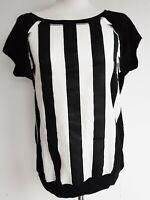 ZARA T Shirt Blouse Top Silk Womens Tank Nautical Monochrome Stripe S M New £25.