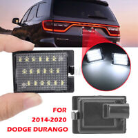 Pair White Rear LED License Number Plate Light Lamp For Dodge Durango 2014-2020