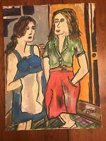 "Leonard Zatz Original Oil Painting - Two Women - 18"" x 24"" Canvas *AS IS*"