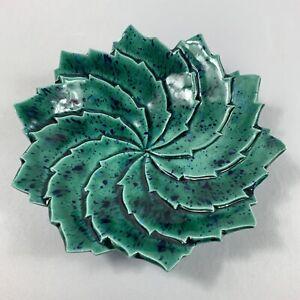 """Vintage Art Pottery Ceramic Leaf Shaped Swirl Trinket Dish 5 3/4"""" Green Speckled"""