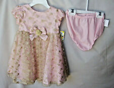 LITTLE ME SPECIAL OCCASION 2 pc Light Pink & Gold Dress w/Panty 18 MONTHS NWT