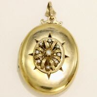 Large Antique Victorian 14k Yellow Gold & Pearl Locket