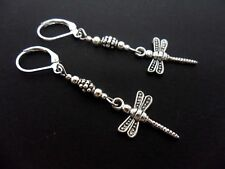 A PAIR OF PRETTY TIBETAN SILVER DANGLY DRAGONFLY  LEVERBACK HOOK EARRINGS. NEW.