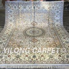 YILONG 8'x10' Handknotted Silk Carpet Oriental Family Room Area Rug ZW179C