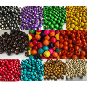 50 Piece Pack Wooden Macrame Beads 12x11mm Wood Crafts 4mm hole Multiple Colours