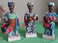 "Three Hand Made Wood & Cloth 9"" Dolls from Accra, Ghana"