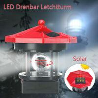 Solar LED Leuchtturm Garten Beleuchtung Turm Leuchtfeuer mit 360° Licht Drehbar