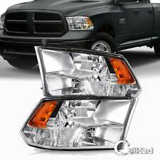 for 2009-2018 Dodge Ram 1500 2500 3500 Chrome Quad Headlights Lamps Left+Right