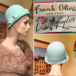 New in Box Vtg 1960's FRANK OLIVE Turquoise Blue Wool Felt Flapper Mod Hat Small
