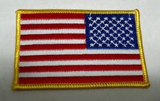 """US American Flag Reverse 3.5X2.2.25""""Gold Border Patch QUALITY Made in USA NEW(3)"""
