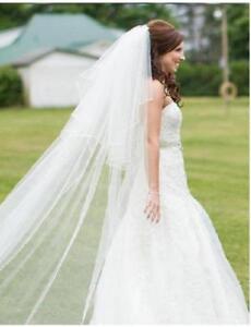 Bridal veil Wedding veil 2T Ivory White RIBBON Edge veil Floor - Cathedral veil