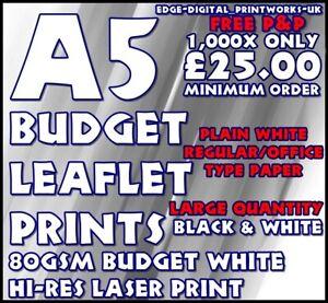 Black & White Only A5 SUPER BUDGET LEAFLETS - 80GSM PLAIN PAPER MONO FLYER
