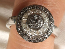 Handmade BLACK & WHITE RAW REAL NATURAL DIAMOND .925 Sterling SILVER RING SIZE 7