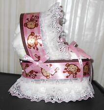 Pink Monkey Diaper Cake Bassinet Baby Shower Gift Centerpiece