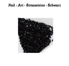 Nail Art Strasssteine, Glitzer Steine über 1000 Stück Rund Schwarz