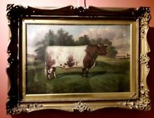 WILLIAM ALBERT CLARK. PORTRAIT OF A PRIZE BULL ON FIELD, SIGNED 1917 Oilpainting