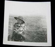 "Original 1930s Kid Cowboy Halloween 2 3/4"" x 2 1/2"" Black & White Photograph"