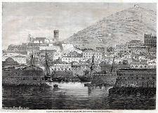 GAETA: Porta di Mare. Grande Veduta.Terra di Lavoro.Regno delle Due Sicilie.1861