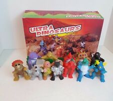 "Set of 12 Vintage Victory Ultra Dinosaurs Ultraman? 4"" Vinyl Kaiju Figures & Box"