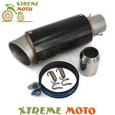 38-51mm Universal Short Exhaust Muffler Carbon Fiber Pipe Slip On Motorcycle New