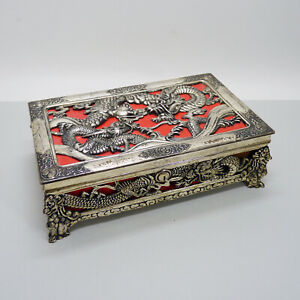 Vintage ZU Japanese Japan Silver Metal Jewelry Music Box Art Deco Dragons