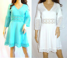 NWT Womens WHITE OR TURQUOISE KNIT BEACH SUMMER DRESS,TUNIC,US S, M, L,XL