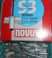 NOVUS  045-0034  Blindniete S 3 x 10 mm STAHL 20 Stück (O6)