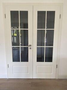 Doppelflügeltüre 147 x 211 cm Landhaus Weiß Matt Doppeltür Glastür Zimmertür